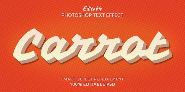 Морковный редактируемый эффект стиля текста photoshop