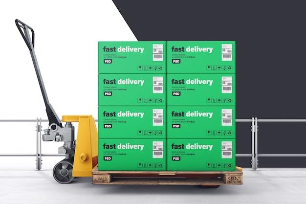 Carton boxes on pallet truck mockup