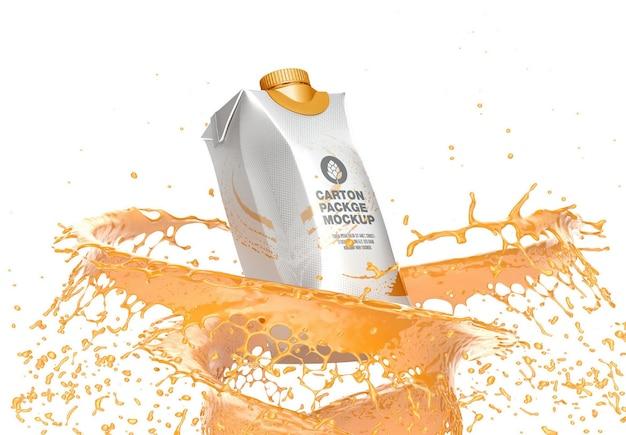 Carton package with splash mockup