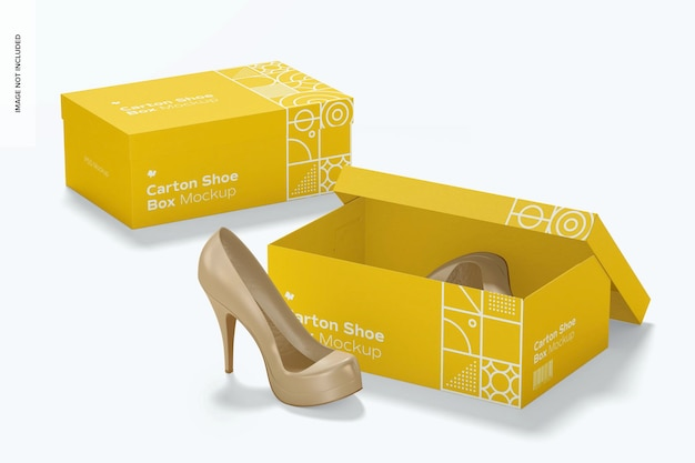 Carton shoe boxes mockup, opened and closed
