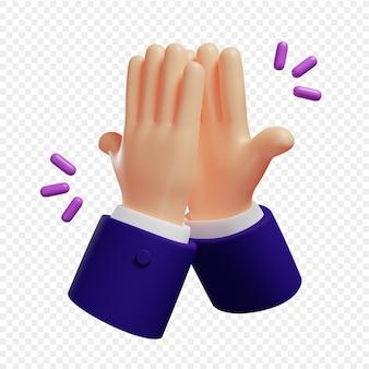 Мультяшный 3d руки с темно-синими рукавами, показывающий значок жестов