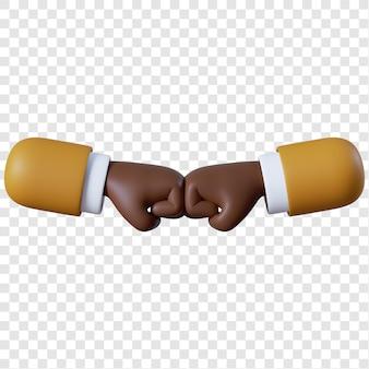 만화 아프리카 계 미국인 사업가 주먹 범프 제스처