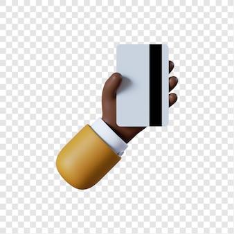 Мультфильм афро-американский бизнесмен рука кредитной карты