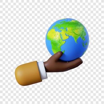 地球儀を持っている漫画のアフリカ系アメリカ人の実業家の手