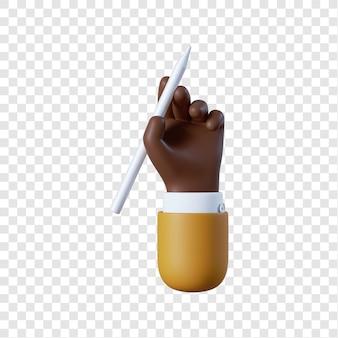 Афро-американский бизнесмен мультфильм рука с ручкой