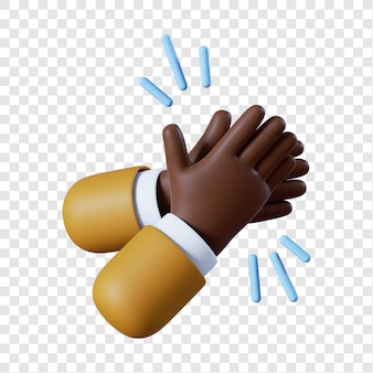 Cartoon african-american businessman hands clapping