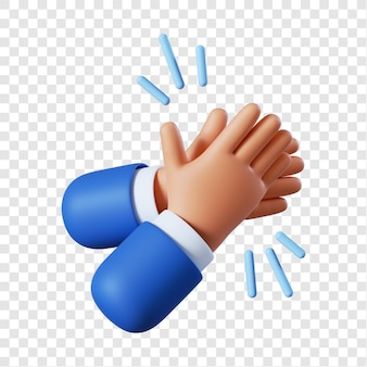 Cartoon businessman hands clapping