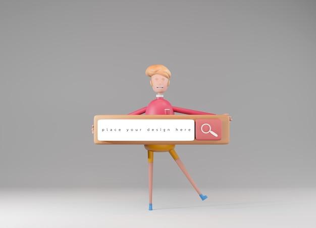 Парень из мультфильма, держащий панель поиска в 3d-рендеринге