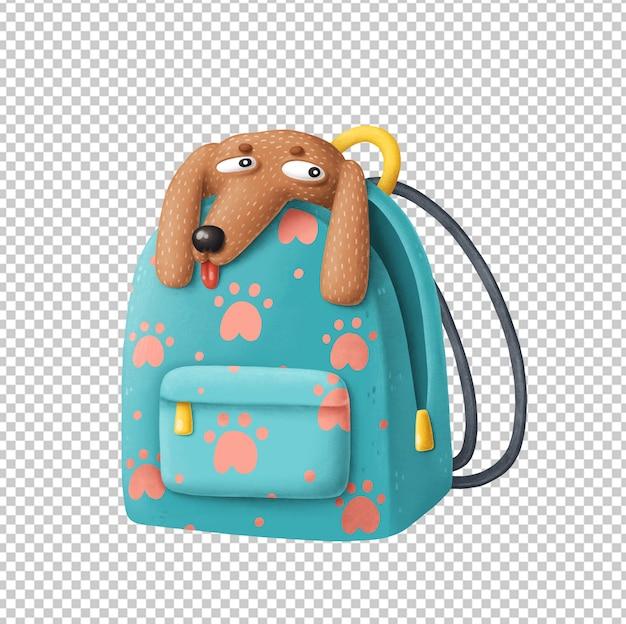 Cartoon dog in backpack