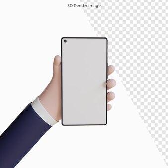 携帯スマートフォンを持っている漫画の手