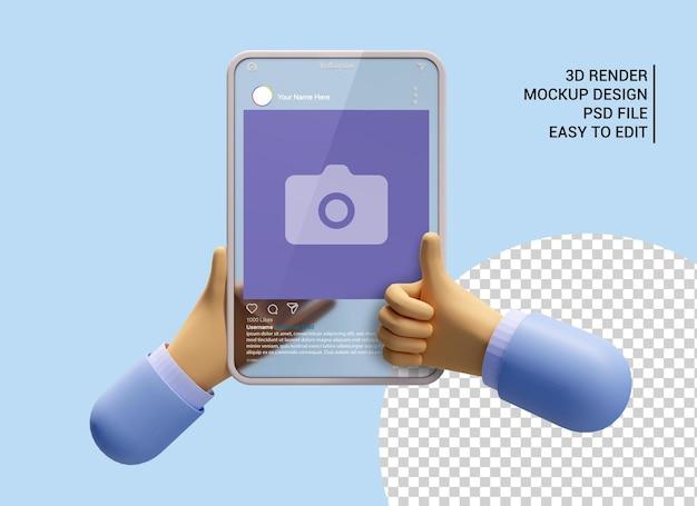 소셜 미디어 3d 렌더링 모형에서 엄지손가락을 치켜든 태블릿을 들고 있는 만화 손