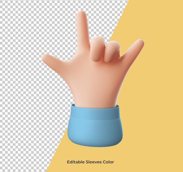Значок жест рок руки мультфильм изолированные