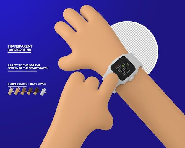 Мультфильм рука нажмите на экране умных часов
