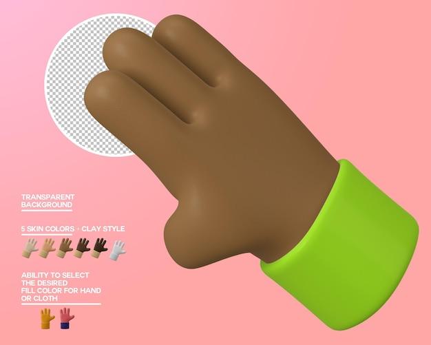 Cartone animato mano tre dita gesto