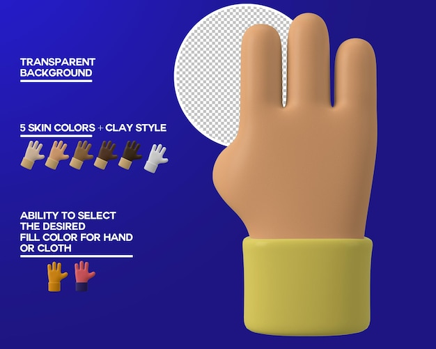 Cartone animato mano tre gesto