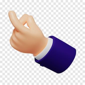 Cartoon hand with dark blue sleeves showing snap finger gesture light skin tone 3d rendering