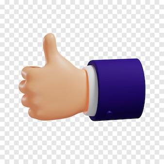 진한 파란색 소매를 가진 만화 손은 고립 된 가벼운 피부 톤을 엄지 손가락으로 보여줍니다.