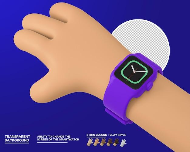 Мультфильм рука с умными часами