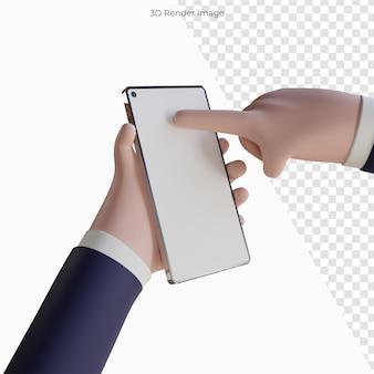 モバイルスマートフォンを保持している漫画の手