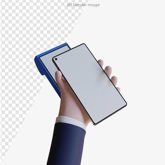 Мультяшные руки, держащие мобильный смартфон