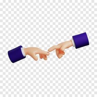 お互いに手を差し伸べるダークブルーの袖を持つ漫画の手