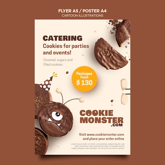 Cartoon illustrations flyer template
