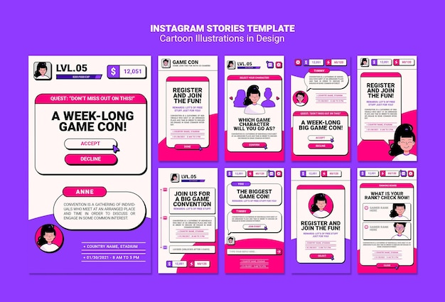 Cartoon illustrations instagram stories template
