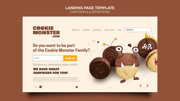 Cartoon illustrations landing page template