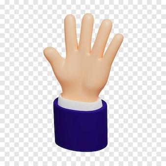 진한 파란색 소매가 달린 만화 밝은 피부색 손은 다섯 손가락을 보여줍니다.