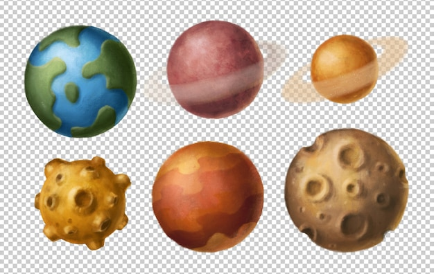 Cartoon planets clipart