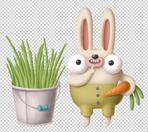 Мультяшный кролик с морковкой