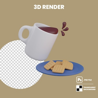 Cartoon splash coffee mug and a plate of crackers