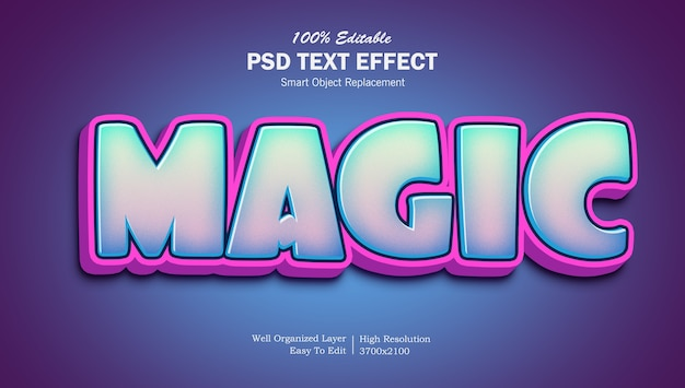 Cartoon style magic gradient text effect template