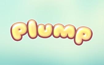 Cartoon text effect plump logo