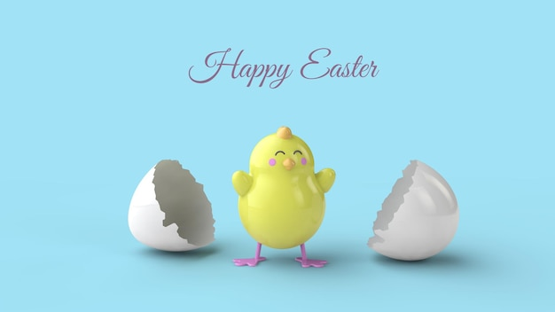 Cartoon yellow chicken hatching from egg easter greeting card template