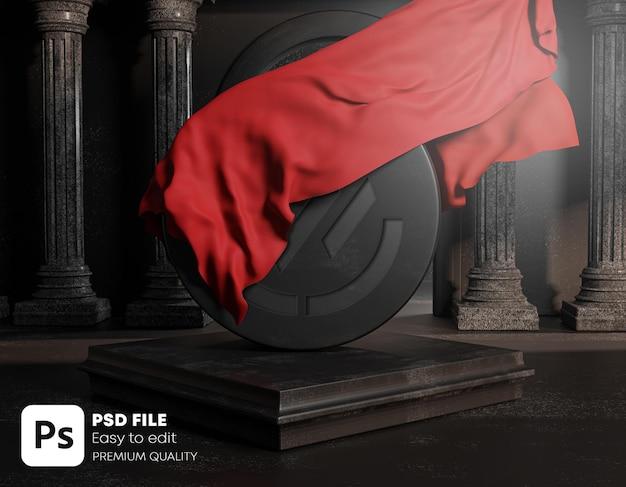 丸い黒い石の古典的な柱の柱から刻まれたロゴで覆われた赤い布