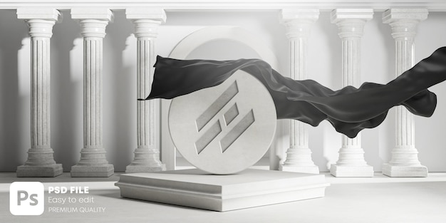 Carved logo mockup unveil black cloth cover from round stone classic colums pillars