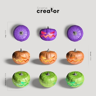 Carved pumpkin variety of angles halloween scene creator