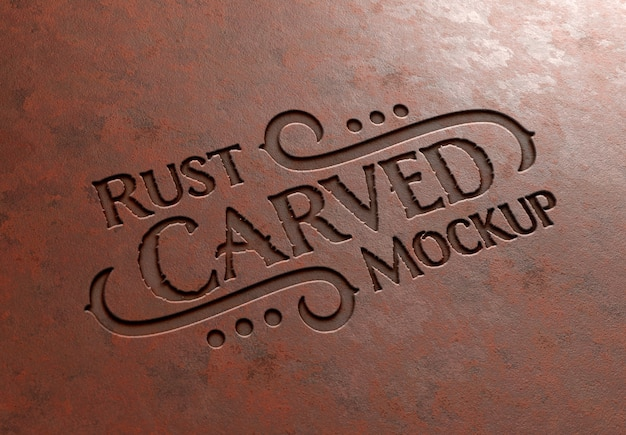 Carved text effect in rusted metal texture mockup