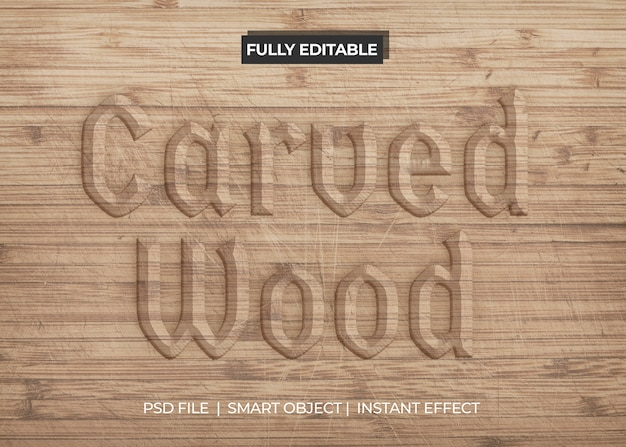 Carved wood text effect