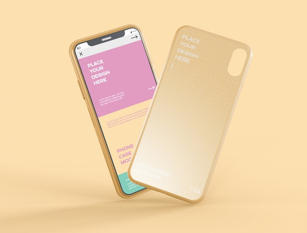 Case and smartphone screen mockup