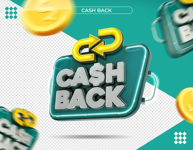 Cash back logo in 3d rendering isolated
