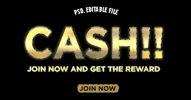 Cash join tittle text effect in gold color