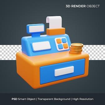 Значок кассового аппарата 3d визуализации иллюстрации изолированные премиум psd