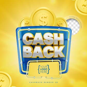 Cashback 3d label marketing with neon and lights and coins