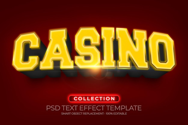 Casino 3d text effect custom with gold shiny and texture background