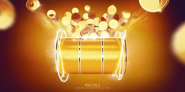 Дизайн казино с золотыми монетами и игровым автоматом