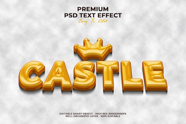 Castle 3d effect style text template