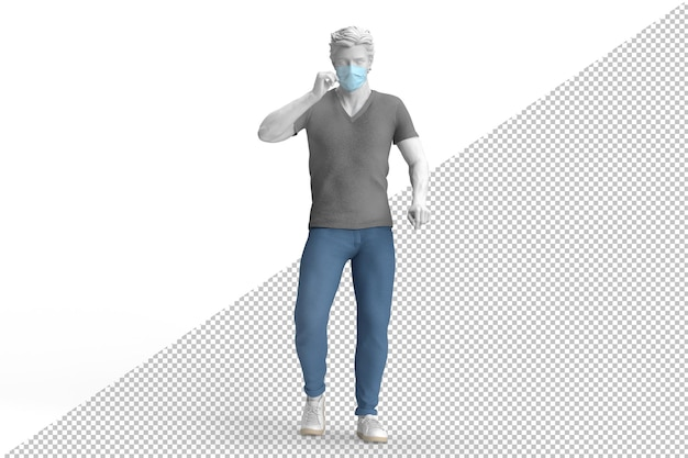 Casual dressed guy wearing disposable protective face mask