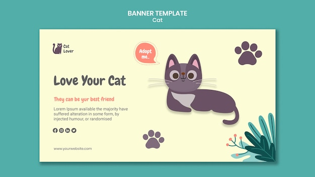 Cat adoption banner template
